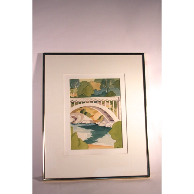 Image of Green & White Bridge Watercolor Painting