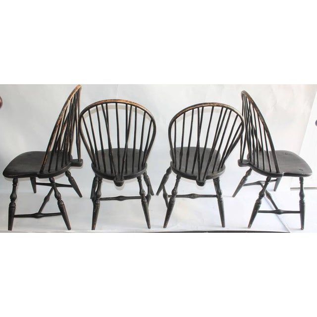 Set of Four 18th Century Black Painted Brace Back Windsor Chairs - Image 2 of 10