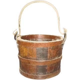 Vintage Pine Wooden Bucket