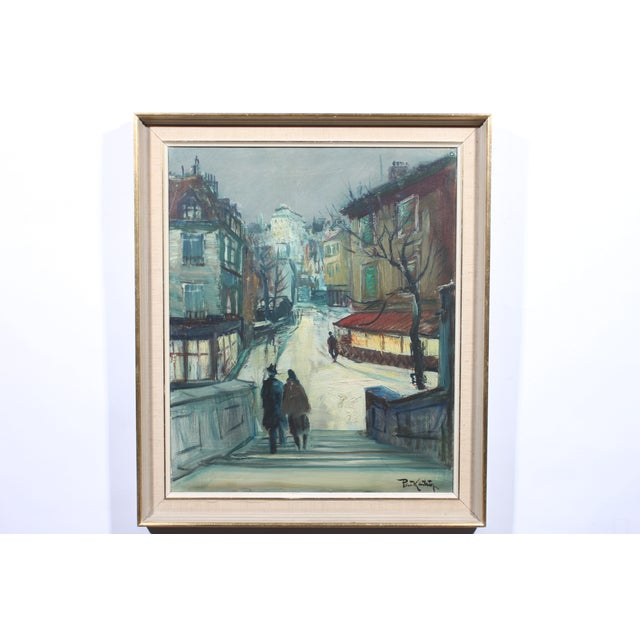 "Image of Vintage ""Winter Walks"" Oil Painting"