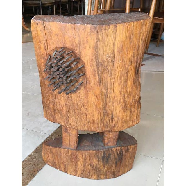 Image of Mid-Century Brutalist Wood Sculpture