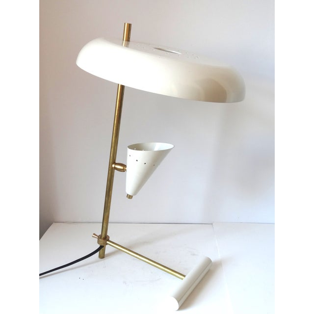 Italian Brass & White Lacquered Lamps - A Pair - Image 2 of 6