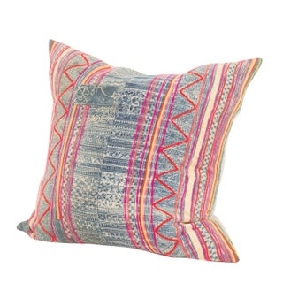 Vintage Colorful Indigo Batik Pillow