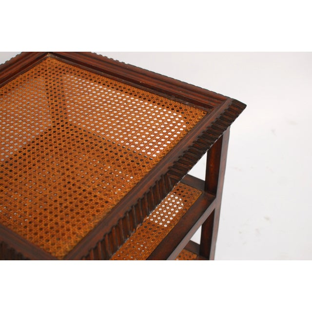 Three Tiered Caned Walnut Side Table - Image 4 of 6