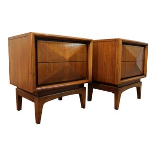 United Mid-Century Diamond Front Nightstands - A Pair