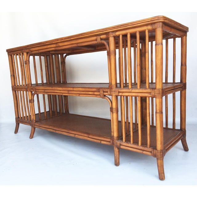 Reeded Bamboo and Woven Rattan Open Shelf ConsoleTable - Image 2 of 6