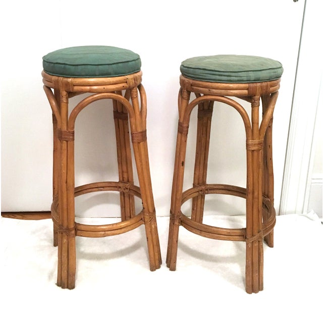 Vintage Rattan Stools or Plant Stands - a Pair - Image 7 of 7