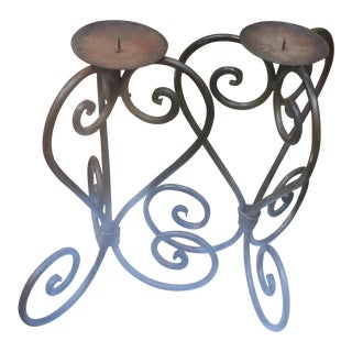 Wrought Iron Candle Holders - A Pair