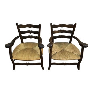 Antique French Countryside Captain's Chairs Rush Seat, Late 18th Century - A Pair