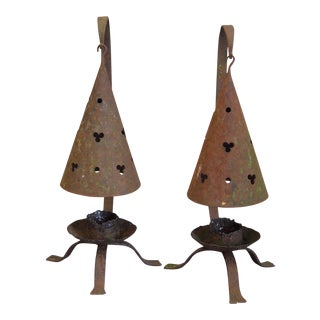 Pair of Iron Candle Holders (#22-54)