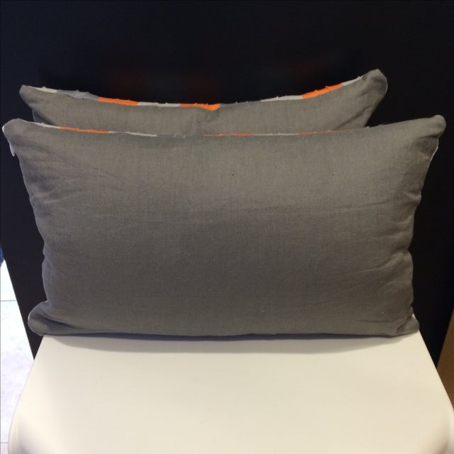 Image of Bolsters in Orange & Grey - A Pair
