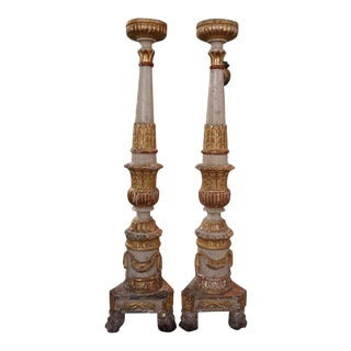 Pair 17th Century Italian Altar Candlesticks