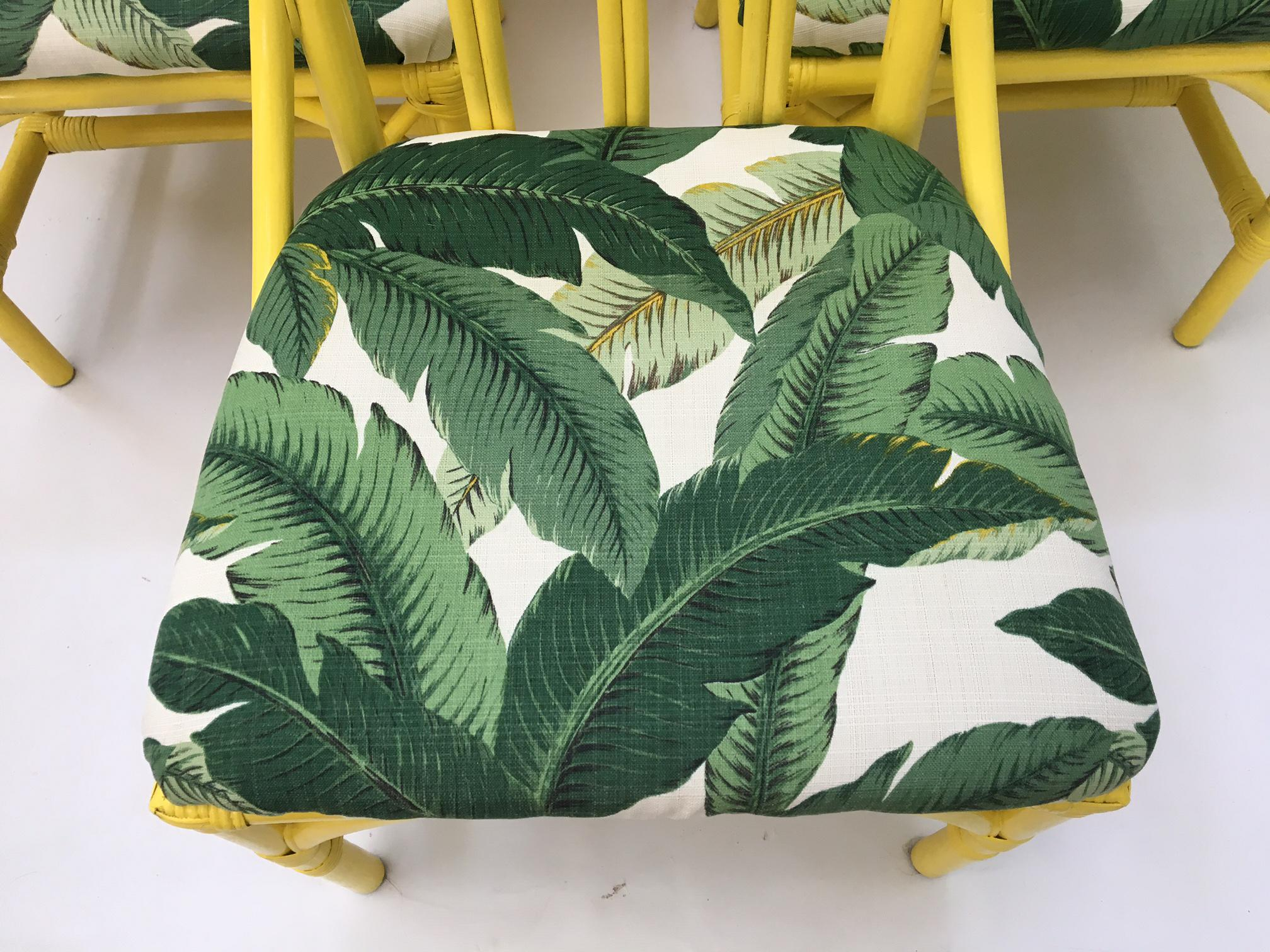 tropical banana leaf print bamboo rattan dining chairs by henry link set of 6
