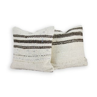 Brown and Ivory-Greige Kilim Pillow -A Pair