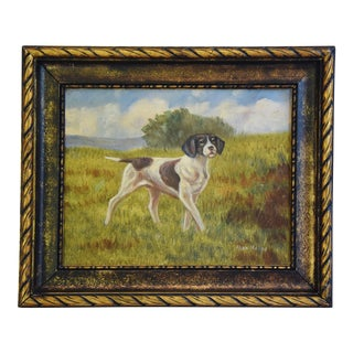 Vintage 1950s Hunting Dog Oil Painting