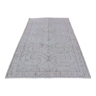 Gray Turkish Vintage Oriental Floor Covering Chic Rug - 4′11″ × 8′2″