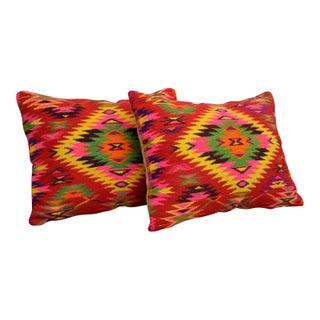 Vintage Turkish Kilim Rug Pillow Covers - a Pair 15″ X 20″