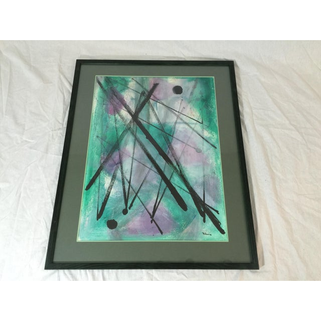 """Image of L. Rhana - """"Untitled"""" Abstract Turquoise Painting"""