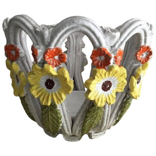 Majolica Terra Cotta Open Weave Bowl With Flowers