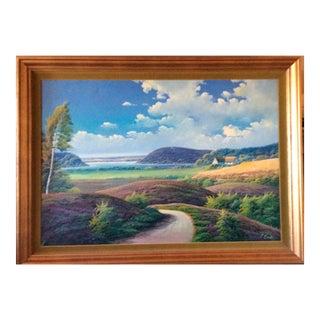 Mid Century Danish Landscape Oil Painting