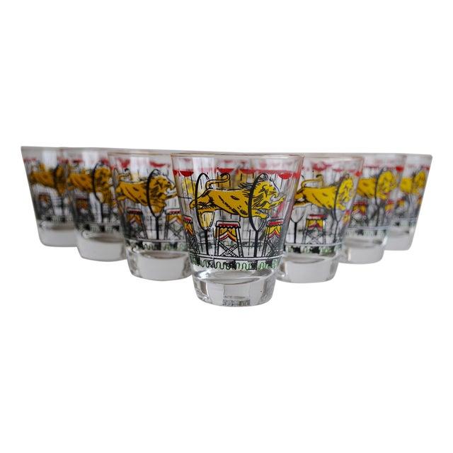Image of Vintage Circus Theme Whiskey Glasses - Set of 8