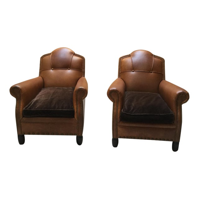 Image of Studded French Leather & Mohair Armchairs - A Pair