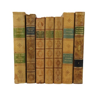 Art Deco Leather Bound Books- Set of 7