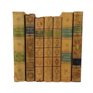 Art Deco Leather Bound Books- Set of 7