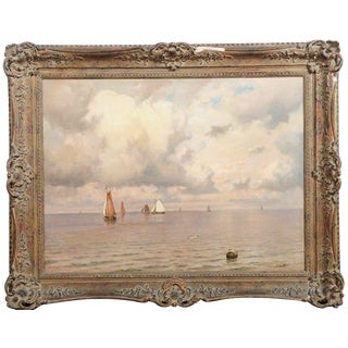"""19th C. Antique Seascape """"Becalmed"""" Oil Painting"""