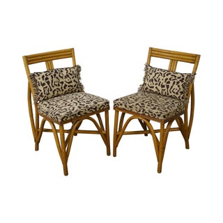 Paul Frankl Bent Rattan Bamboo Side Chairs - Pair