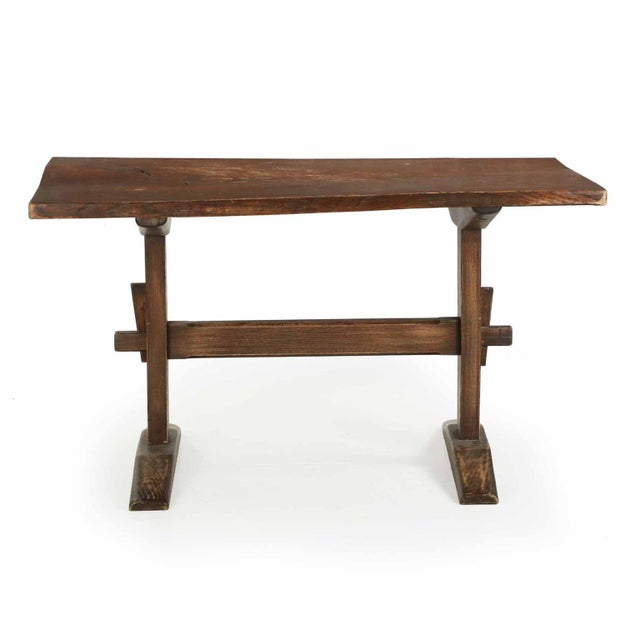 Arts & Crafts Solid Oak Trestle Writing Table - Image 2 of 10