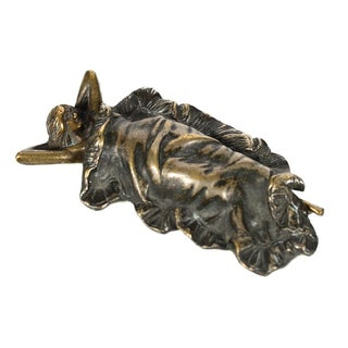 Art Nouveau Woman Under Blanket Bronze Figurine