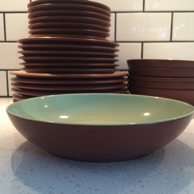 Green and Brown Dinnerware - Set of 6 - Image 8 of 9