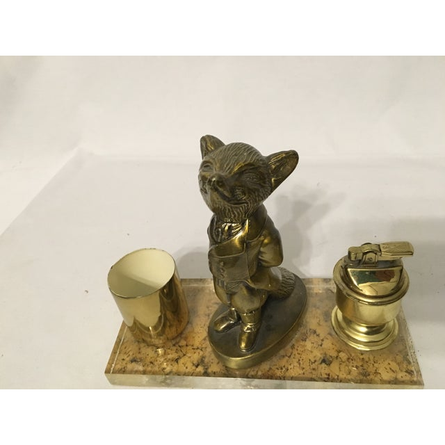 Brass Fox Cigarette and Lighter Set - Image 6 of 10
