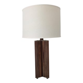 Mid-Century Zebra Wood Table Lamp