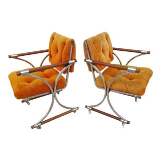 Cleo Baldon Chrome & Oak Dining Chairs - A Pair