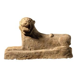 Assyrian Terracotta Sculpture of a Recumbent Lion