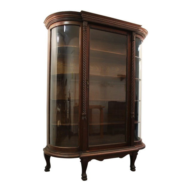 Antique Oak Barley Twist Ball Claw China Cabinet - Image 1 of 11