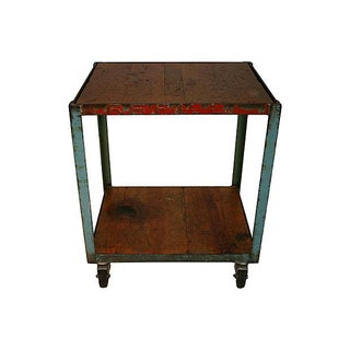 Distressed Industrial Bar Cart
