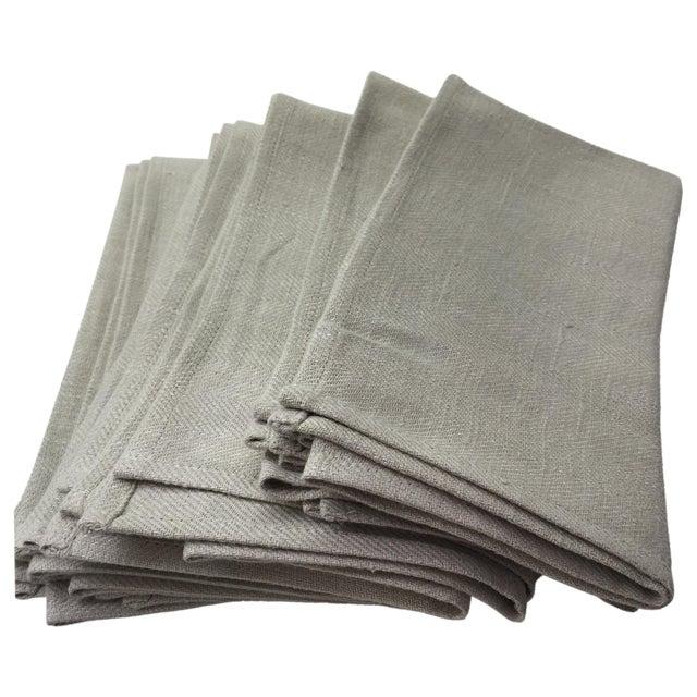 Platinum Grey Linen Napkins - Set of 6 - Image 1 of 4