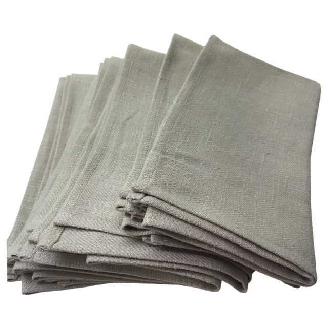 Image of Platinum Grey Linen Napkins - Set of 6