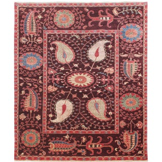 Hand-Knotted Suzani Wool & Silk Rug - 6′ × 8′7″