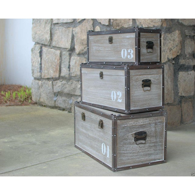 Image of Antique Numbered Wooden Storage Crates - Set of 3