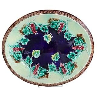Antique English Majolica Grapevine Cheese Platter