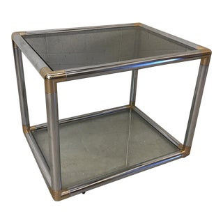 Mid Century Modern Chrome & Brass Smoke Glass End Table