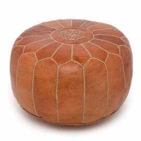 Bohemian Handmade Moroccan Brown Leather Pouf Ottoman With Embroidery