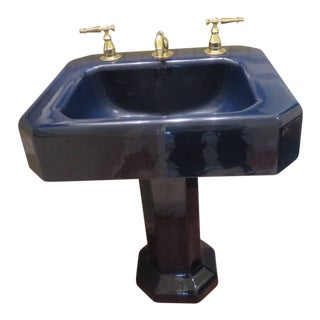 Kohler Hollywood Regency Navy Blue Porcelain Pedestal Sink