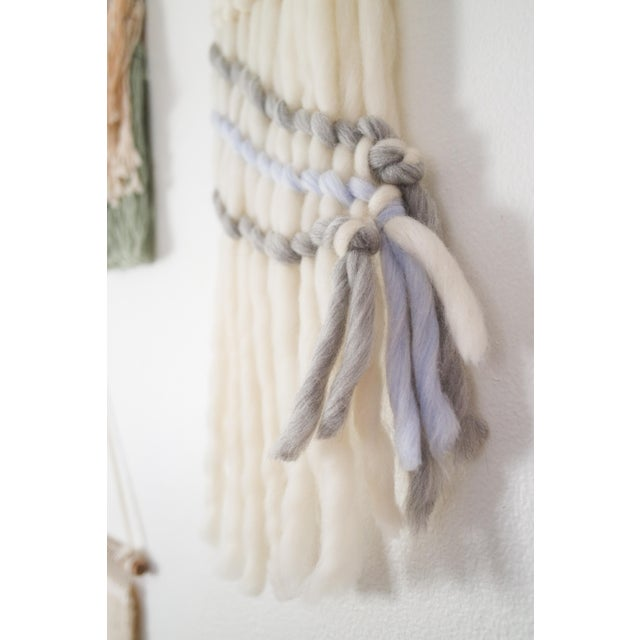Handwoven Cream, Gray & Pale Blue Wall Hanging - Image 3 of 5