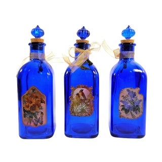 Cobalt Blue Decorative Glass Bottles - Set of 3