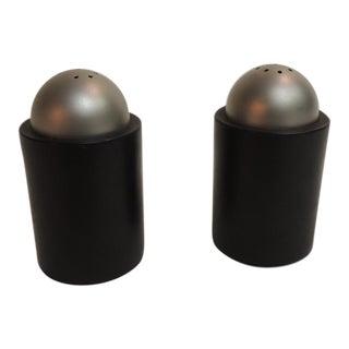 Modern Round Black Salt & Pepper Shakers - a Pair